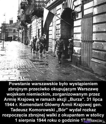 Powstanie warszawskie było wystąpieniem