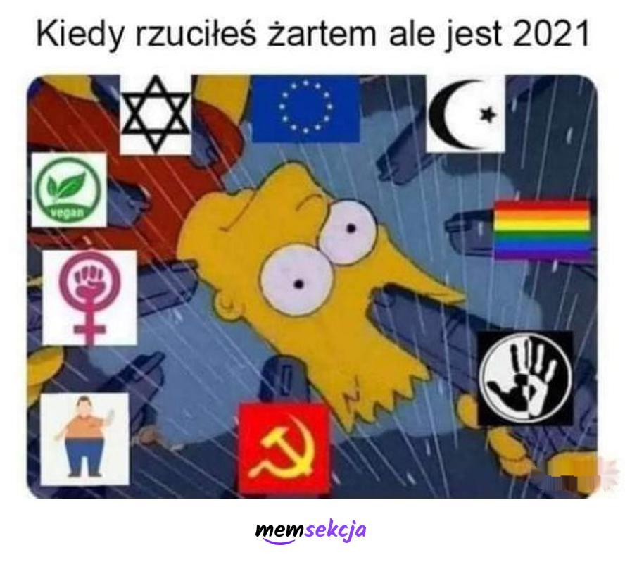 Kiedy rzuciłeś żartem, ale jest rok 2021. Memy. Poprawność  Polityczna  Memy