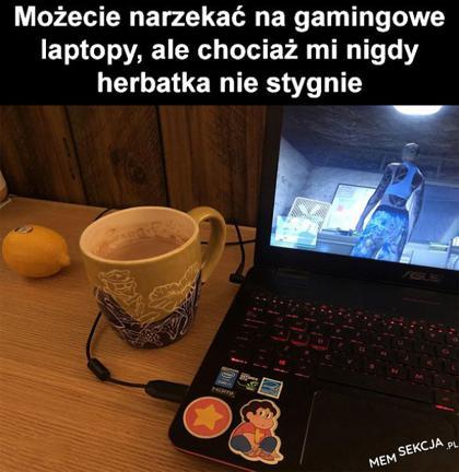 Gamingowe laptopy podgrzewają herbatkę