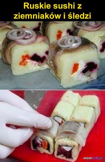 Ruskie Sushi z ziemniaków i śledzi. Śmieszne. Z  Obrzydzeniem. Rosja