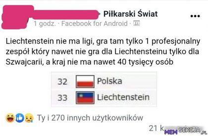 Polska reprezentacja w zestawieniu z Liechtensteinem. Sport. Fejzbuk. Fejsbuk. Polska. Liechtenstein. Piłka  Nożna