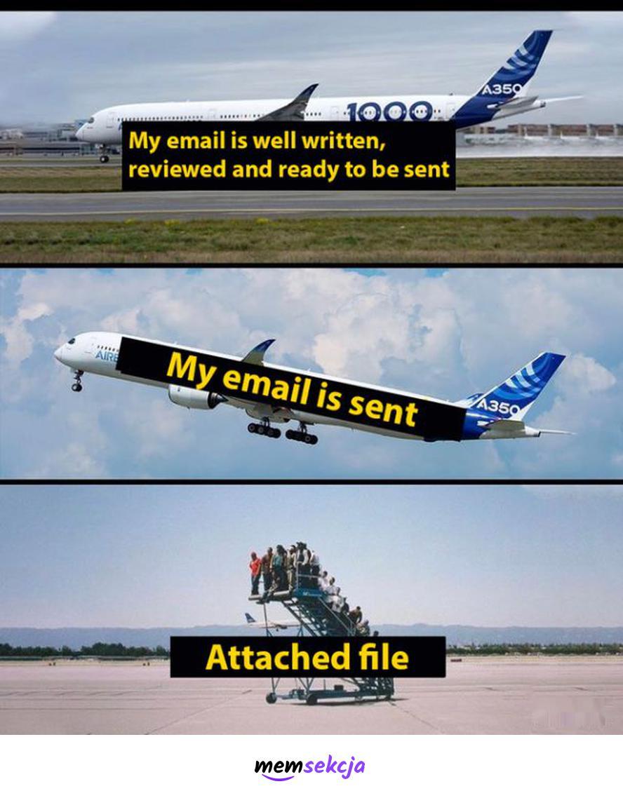 Attached file. Śmieszne. Email. Samolot