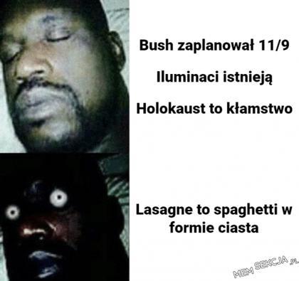 Lasagne to spaghetti w formie ciasta. Memy. Grzegorz  Floryda