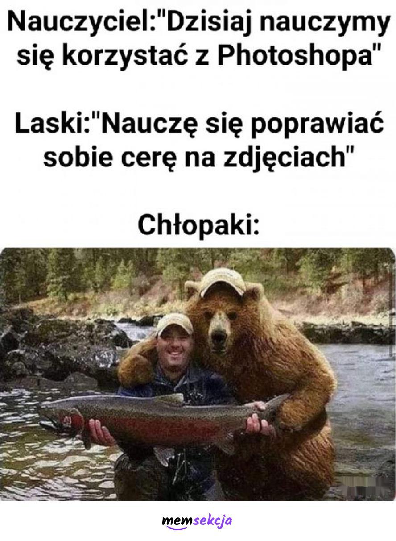 Chłopaki w Photoshopie. Memy. Photoshop. Chłopak. Niedźwiedź