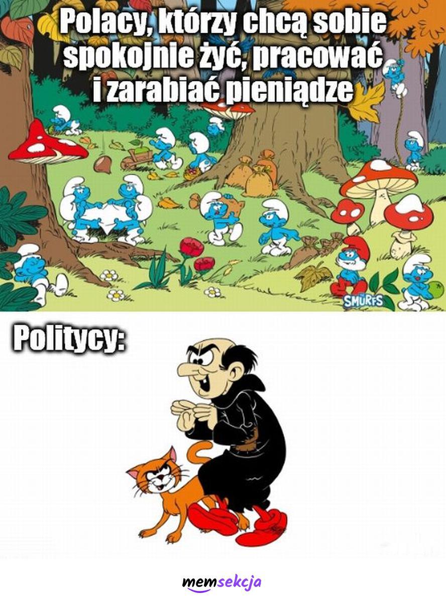 Polacy to smerfy, politycy to gargamel. Memy polityczne. Polacy. Smerfy. Gargamel