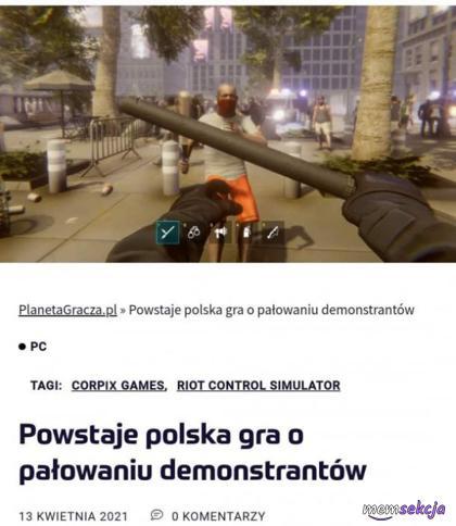 Gra o pałowaniu demonstrantów