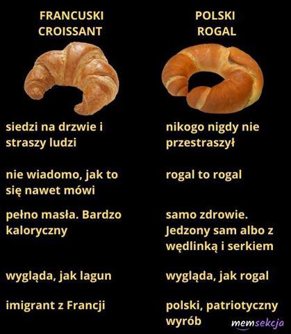 Croissant vs polski rogal
