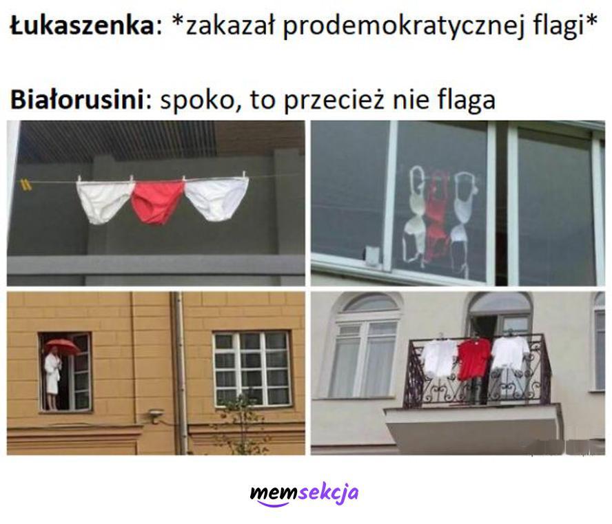 Zakazana flaga Białorusi. Memy. Białoruś. Aleksandr  Łukaszenka