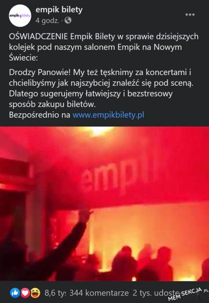 jak Empik zareagował na wydarzenia z wczoraj?