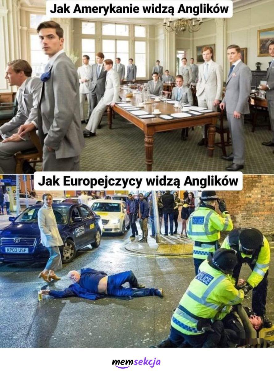 Jak europejczycy widzą anglików, a jak ich widzą amerykanie. Memy. Anglia. Usa. Europa