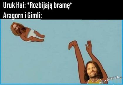 Aragorn i Gimli, kiedy Uruk Hai rozbijają bramę