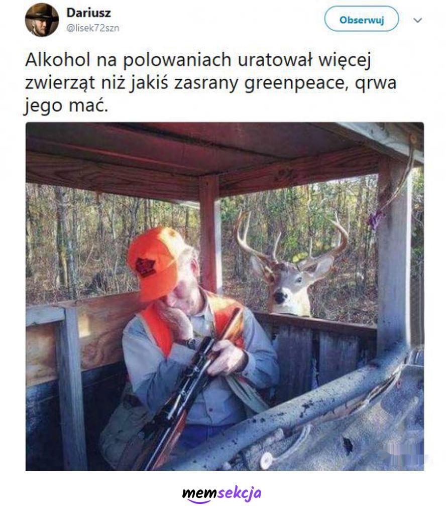 Alkohol na polowaniu, chroni zwięrzęta. Memy. Alkohol. Polowanie