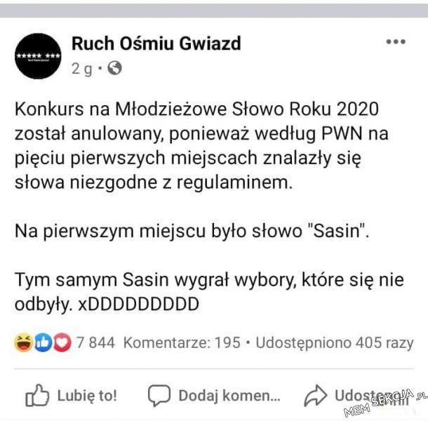 Sasin wygrał wybory, które się nie odbyły