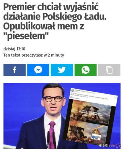 Morawiecki opublikował mem z piesełem