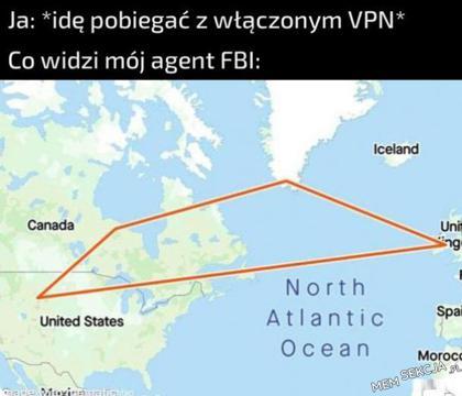 Co widzi mój agent FBI, kiedy idę pobiegać z włączonym VPN