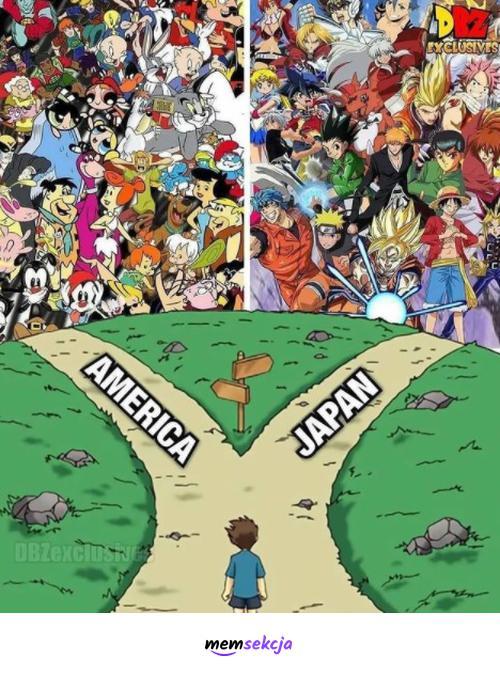 Wolisz kreskówki amerykańskie czy japońskie?. Memy. Kreskówki. Japonia. Usa