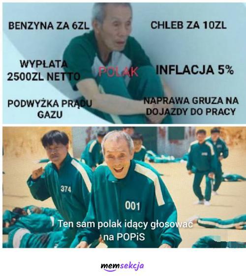 Ten Polak idący głosować na POPiS. Memy polityczne. Polacy. Po. Pis. Benzyna. Inflacja