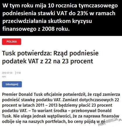 Tymczasowe podniesienie stawki VAT