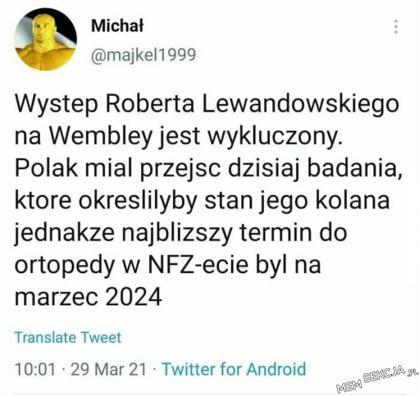 Lewandowski nie wystąpi na Wembley