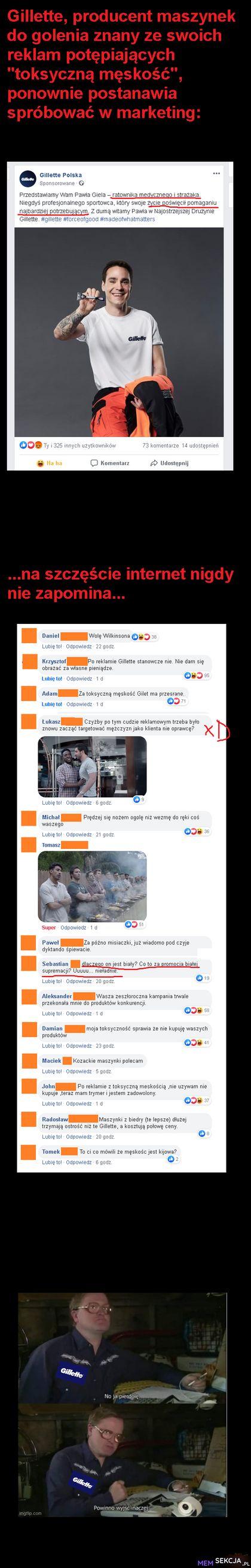 Internet nie zapomina, nie zapomniał też reklamy gillette