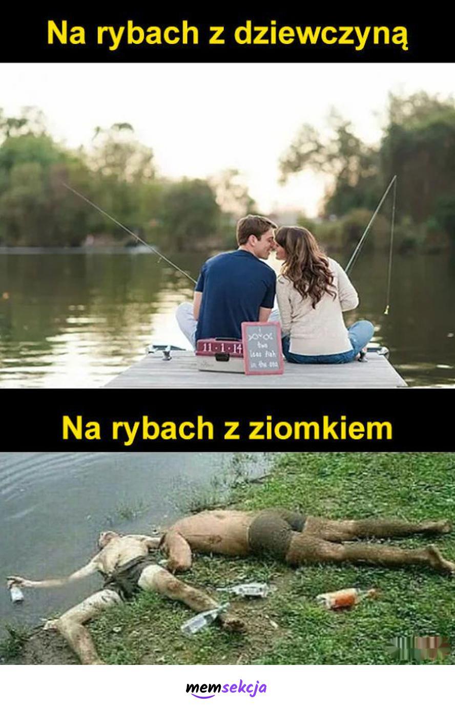 Na rybach z dziewczyną vs z ziomkiem. Memy. Dziewczyna. Ziomki