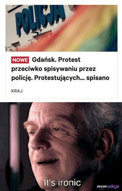 Protest przeciwko spisywaniu przez policję w Gdańsku