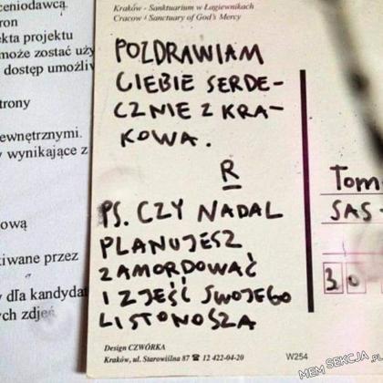 Pozdrawiam ciebie serdecznie z Krakowa