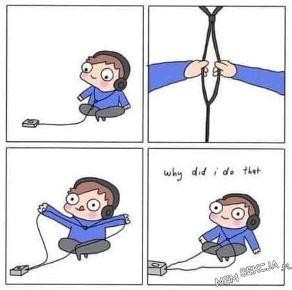 Komiks o rozdzielaniu kabla od słuchawek