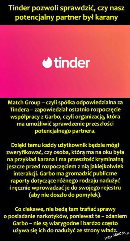 Tinder pozwoli sprawdzić, czy potencjalny partner był karany