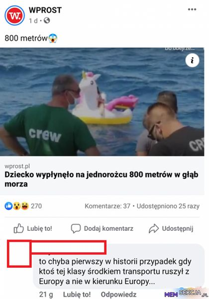 Dziecko wypłynęło na jednorożcu 800 metrów w głąb morza
