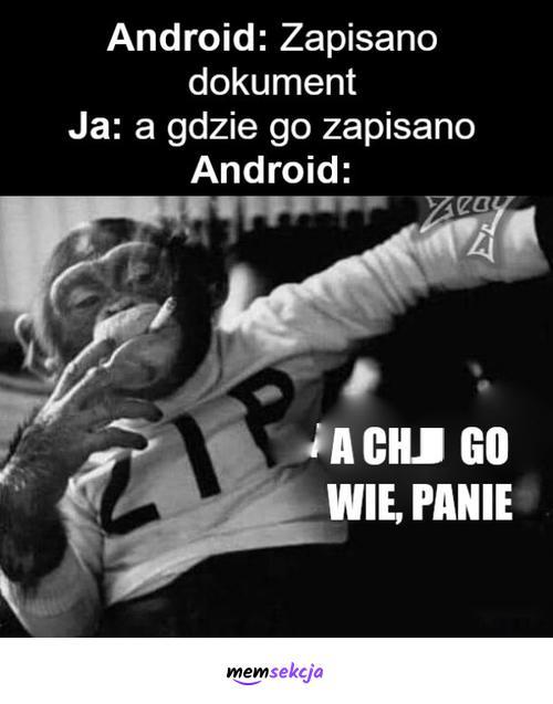 Gdzie zapisano dokument?. Memy. Android