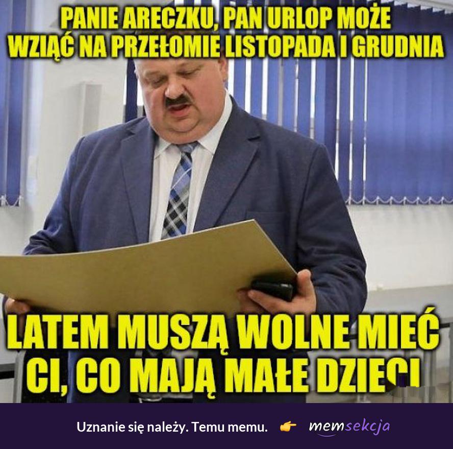 Urlop po wakacjach, panie areczku. Memy. Pan  Areczek. Szef. Janusz. Januszex. Praca