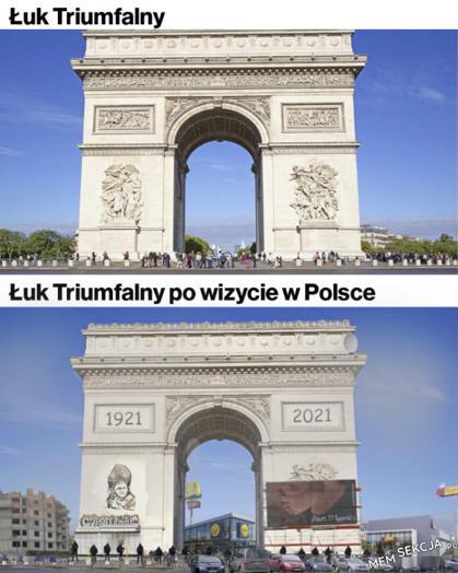 Łuk triumfalny po wizycie w Polsce. Śmieszne. Polska. Łuk  Triumfalny. Jacek  Sasin