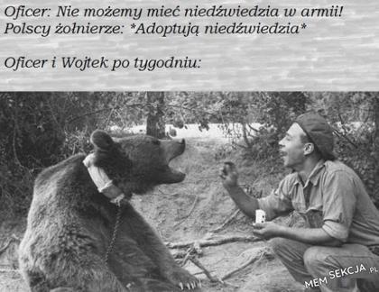Oficer i niedźwiedź Wojtek po tygodniu