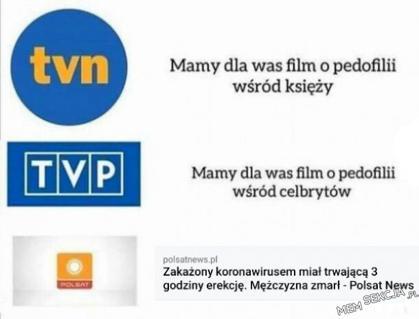 Różnica między newsami na TVN, TVP i na Polsacie