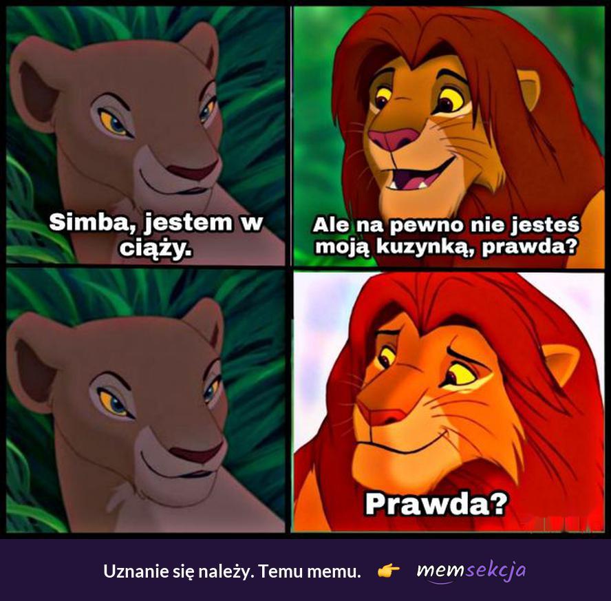 Simba, jestem w ciąży. Śmieszne. Król  Lew
