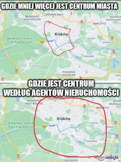 Centrum miasta według agentów nieruchomości