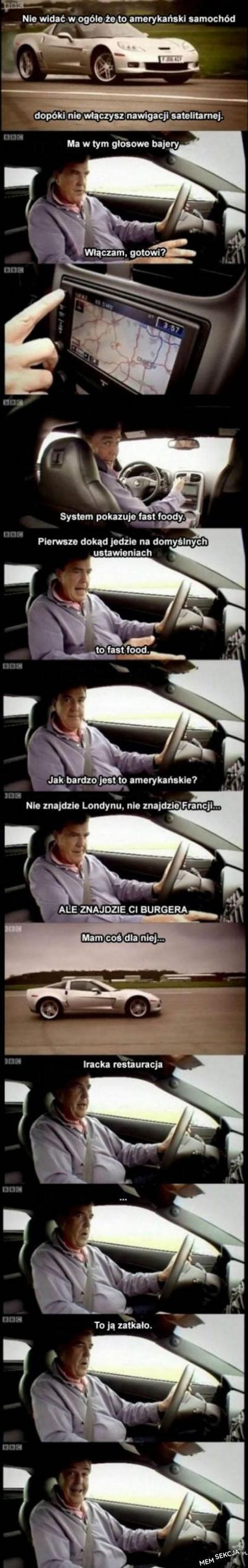 Jeremy Clarkson i samochód nawigujący do burgera