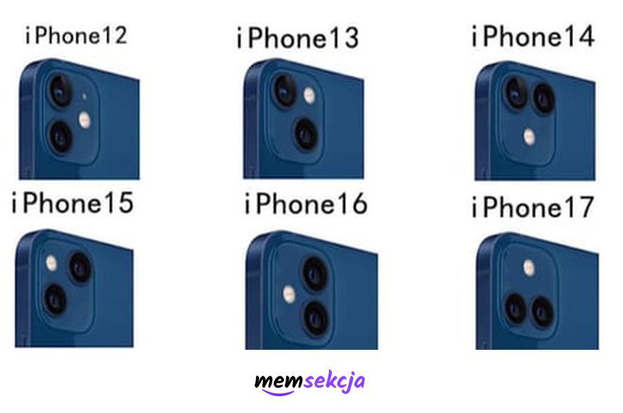 Pomysły na design kolejnych iPhoneów. Memy. Iphone. Apple. Iphone13