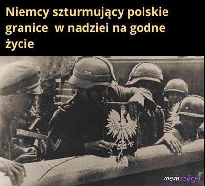 Niemcy szturmujący Polskie granice w nadziei na godne życie