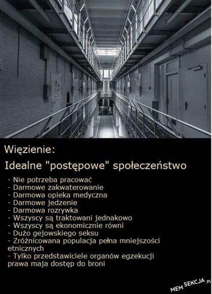 Więzienie reprezentuje idealne 'postępowe' społeczeństwo