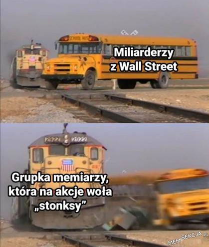 Grupka memiarzy wołająca stronks na akcje