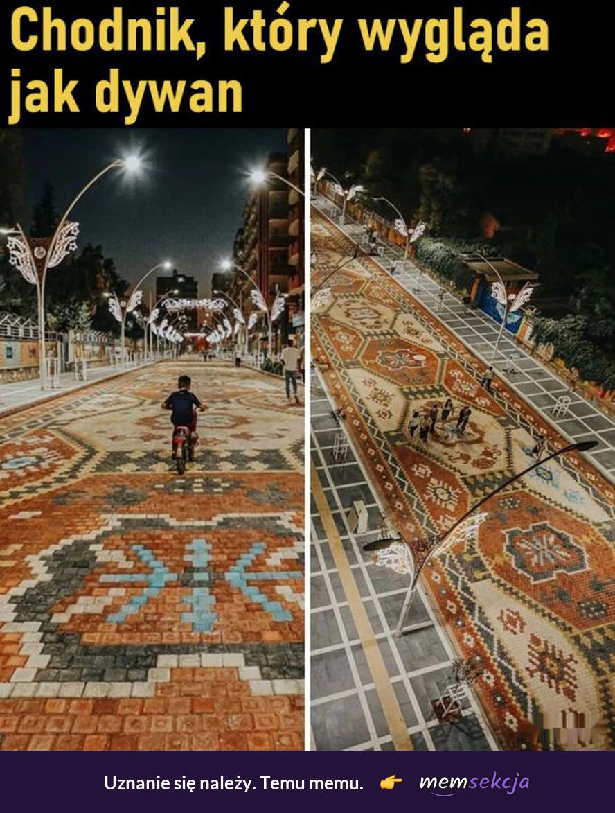Chodnik, który wygląda jak dywan. Memy. Dywany