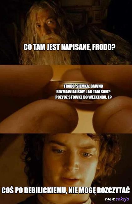 Co tam jest napisane Frodo?
