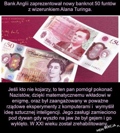 Banknot z wizerunkiem Alana Turinga