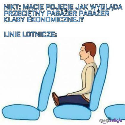 Przeciętny pasażer klasy ekonomicznej