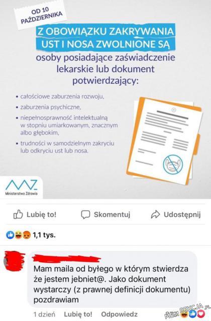 odpowiedni dokument