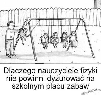 Nauczyciele fizyki na szkolnym placu zabaw