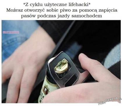 Użyteczny lifehack - jak otworzyć piwo w samochodzie