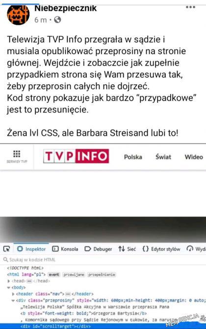Przeprosiny TVP Info przypadkiem się scrollują